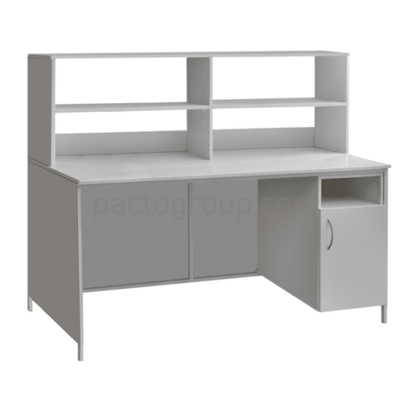 Laboratory table with locking file cabinet and upper superstructure SL-001.02.04